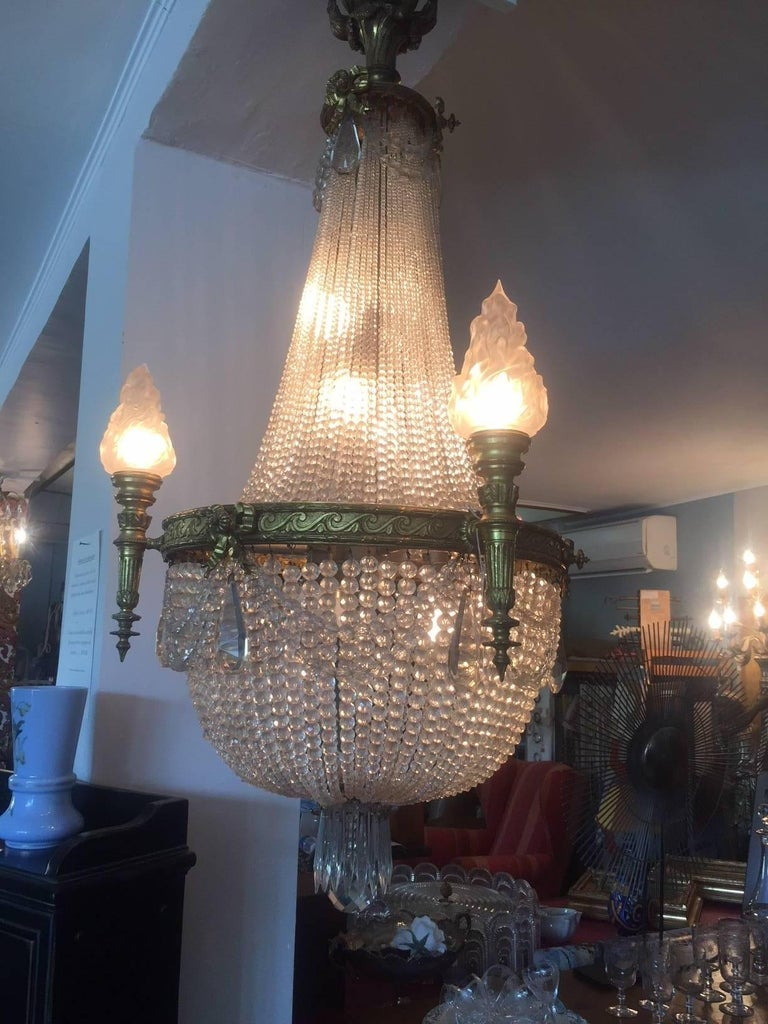 20th century bronze balloon chandelier with crystal and glass pendants.