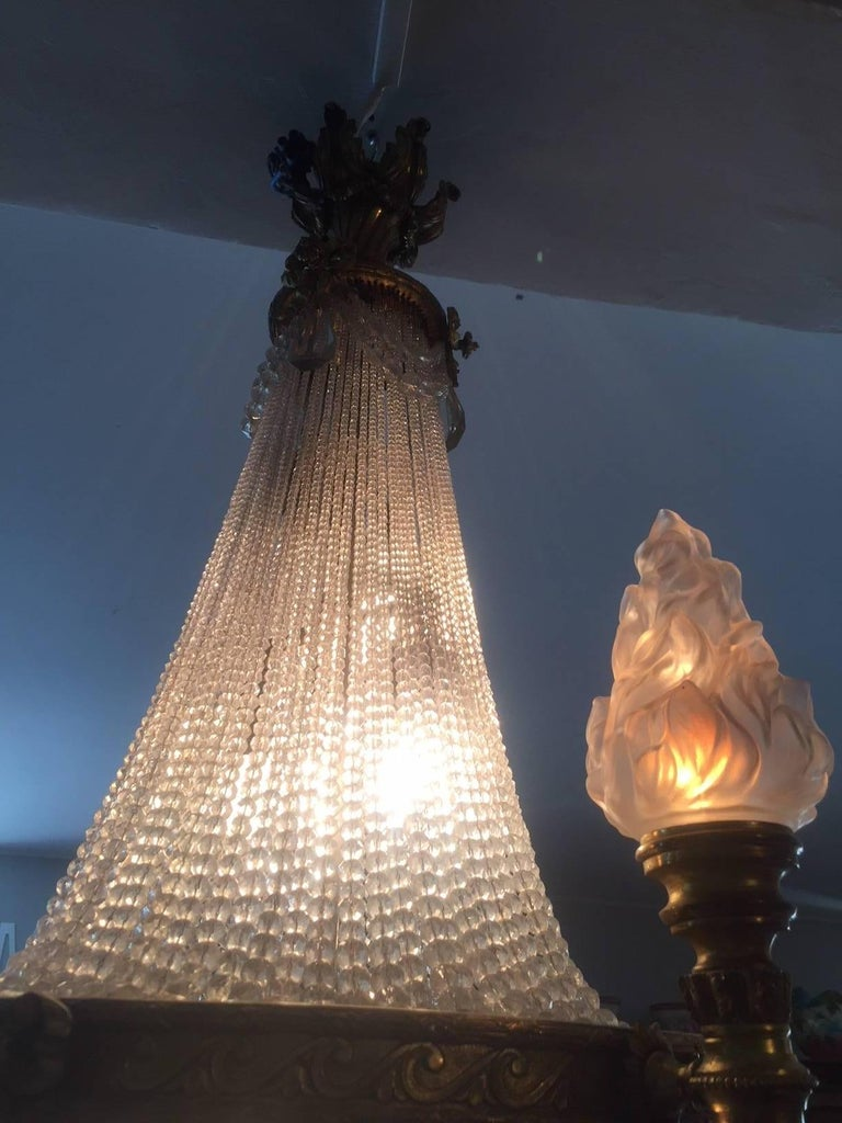 20th Century French Bronze Balloon Chandelier with Cristal and Glass Pendants For Sale 2