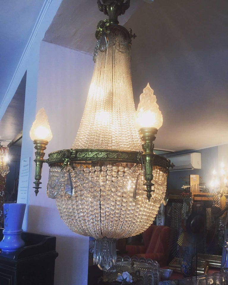 20th Century French Bronze Balloon Chandelier with Cristal and Glass Pendants For Sale 4
