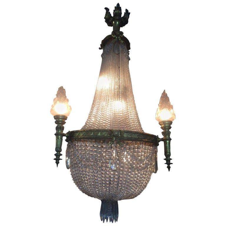 20th Century French Bronze Balloon Chandelier with Cristal and Glass Pendants For Sale