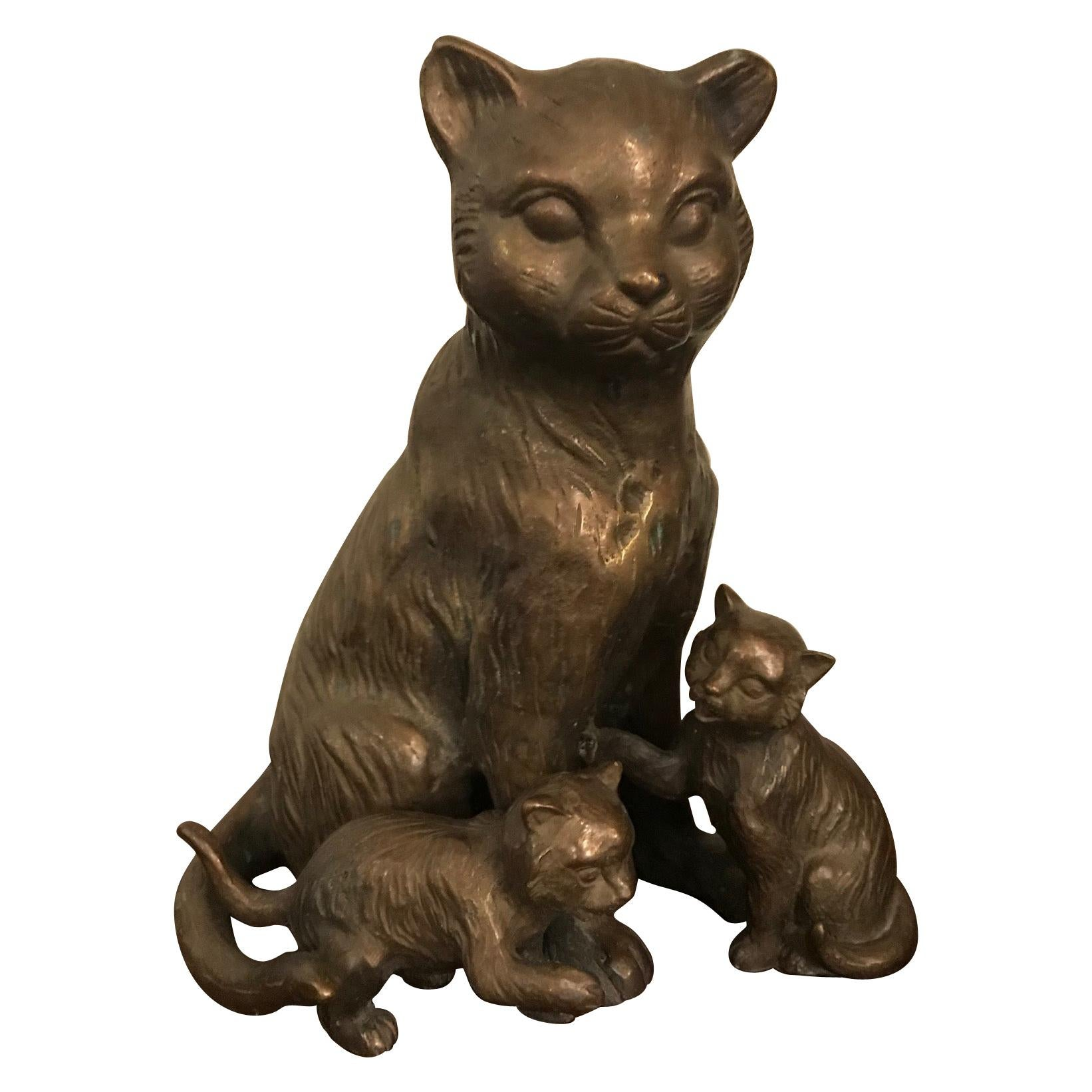 20th Century French Bronze Cats Sculpture