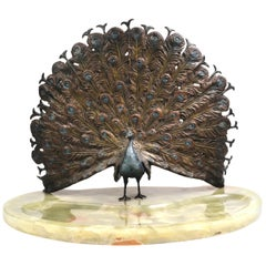 20th Century French Bronze Peacock Sculpture