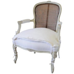 20th Century French Cane Back Open Armchair with Linen Slip Cover