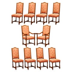 20th Century French Carved Cherry Dining Room Suite, 8 Chairs and 2 Armchairs
