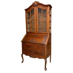 20th Century French Carved Oak Desk Secretary Bureau Bookcase Louis XV Style