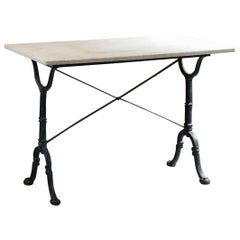 20th Century French Cast Iron Estaminet Table with White Marble Top
