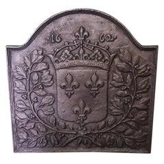 20th Century French Cast Iron Fireback with Family Crest of House Bourbon