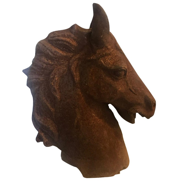 20th Century French Cast Iron Horse Head For Sale