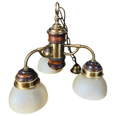 20th Century French Chandelier Made of Brass and Wood with Three Lights