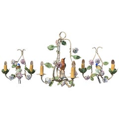 20th Century French Chandelier & Matching Sconces with Porcelain Bird & Flowers
