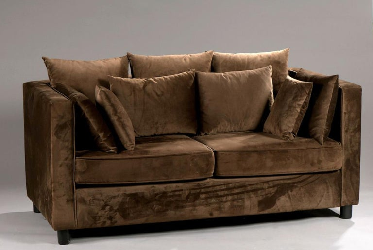 20th century velvet sofa in chocolate brown with set of cushions. France, circa 1950.