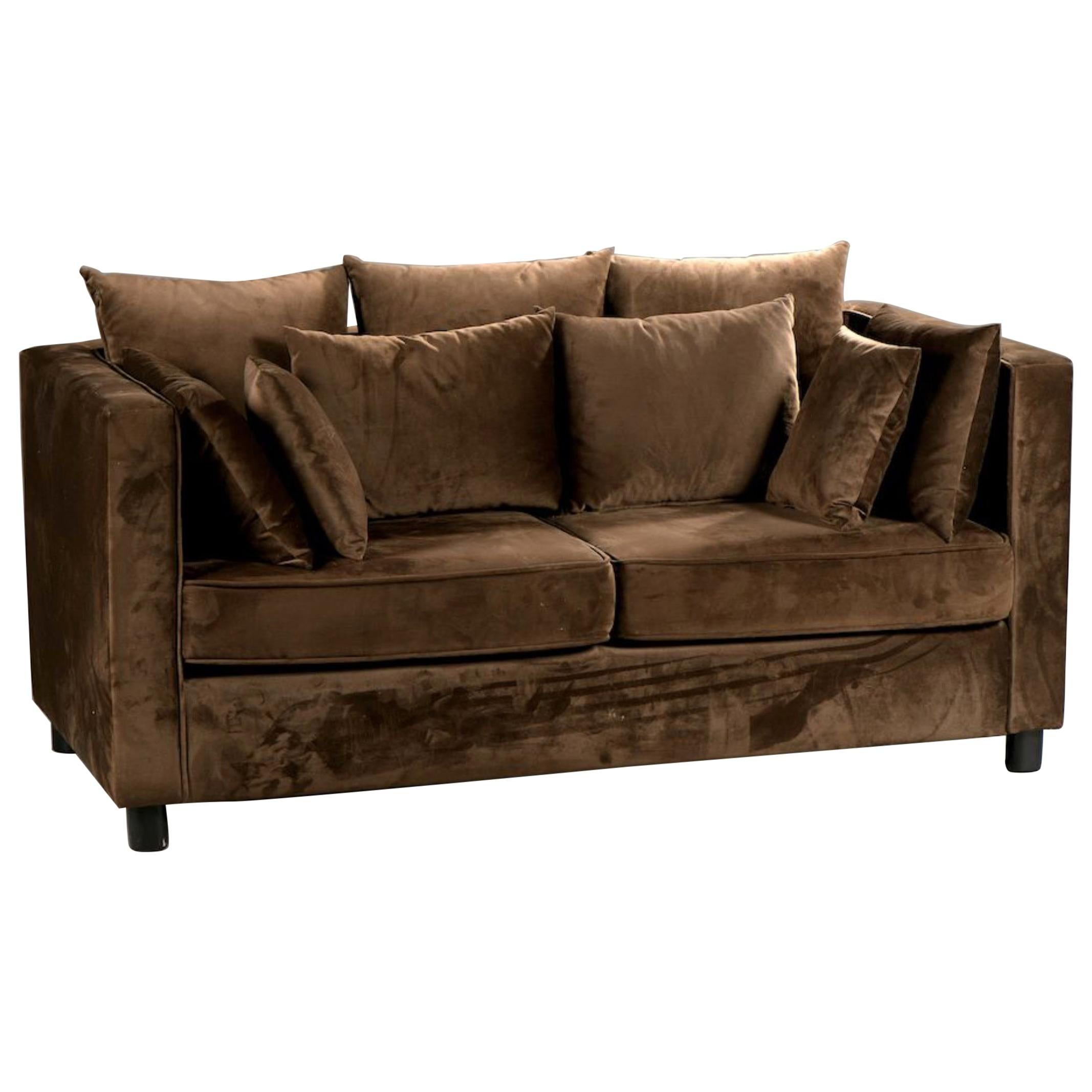 20th Century French Chocolate Brown Two-Seated Velvet Sofa with Set of Cushions