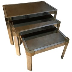 20th Century French Chromed Metal and Mirror Nesting Tables, 1950s