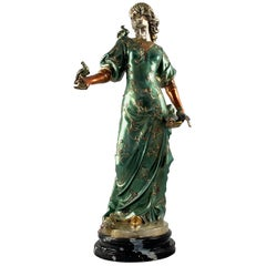 20th Century French Cold Painted Bronze Figure of a Lady in Robes on Marble Base