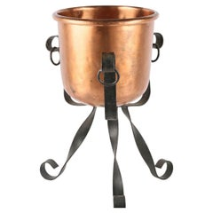 20th Century French Copper Bowl or Ice Bucket on a Wrought Iron Stand