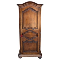 20th Century French Country Oak Armoire Wardrobe Dome Top Cabinet Bonnetiere
