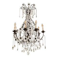 20th Century French Crystal Glass Teardrop Chandelier - Art Deco Ceiling Light