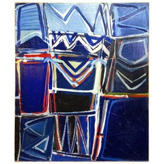 20th Century French Dark Blue Abstract Painting by Daniel Clesse