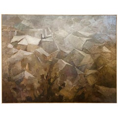 20th Century French Dark Brown Abstract Painting by Daniel Clesse