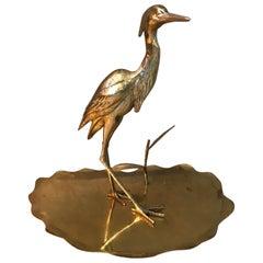 20th Century French Decorative Brass Heron, 1950s
