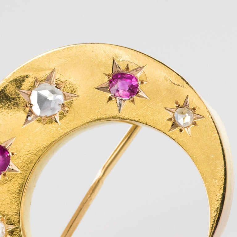 20th Century French Diamonds Ruby 18 Karat Yellow Gold Moon Brooch For Sale 11