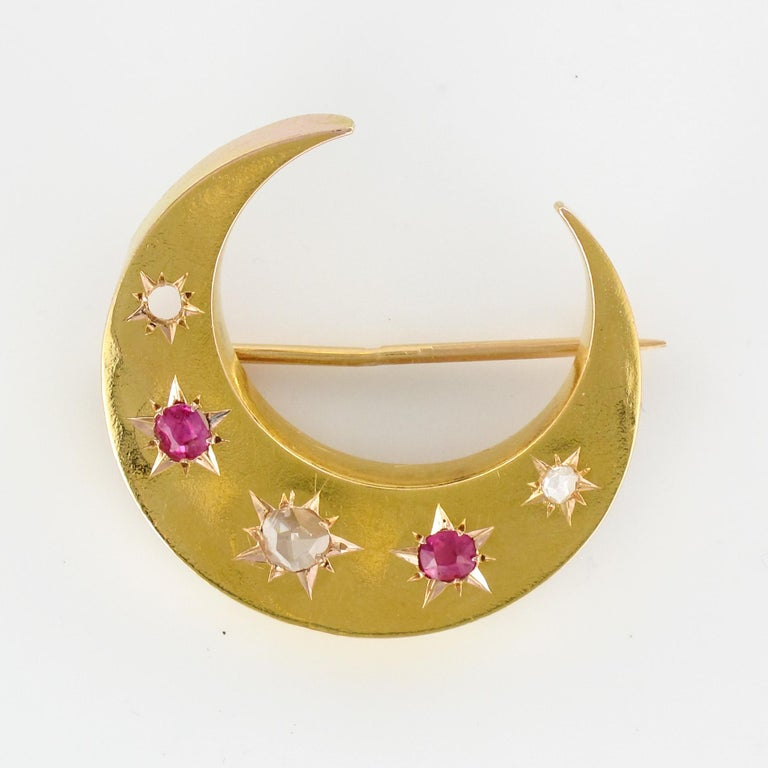 20th Century French Diamonds Ruby 18 Karat Yellow Gold Moon Brooch For Sale 12