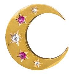 20th Century French Diamonds Ruby 18 Karat Yellow Gold Moon Brooch