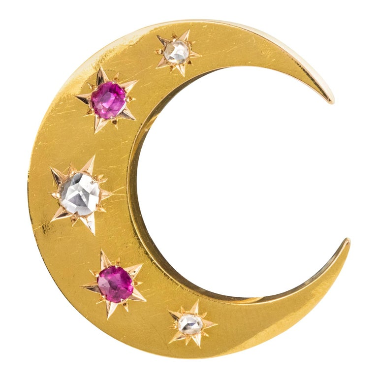 20th Century French Diamonds Ruby 18 Karat Yellow Gold Moon Brooch For Sale