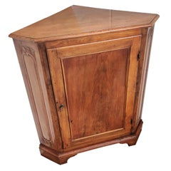 20th Century French Directoire Carved Columns Corner Cabinet