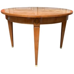 20th Century French Directoire Style Round Mahogany Table with Parquetry Inlay