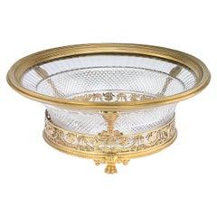 20th Century French Empire Solid Silver-Gilt & Cut Glass Bowl, Paris, circa 1900