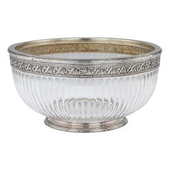 20th Century French Empire Solid Silver & Glass Bowl, Paris, c.1900
