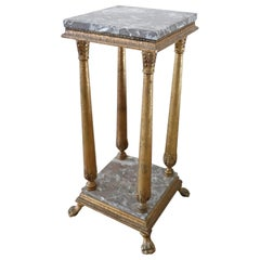 20th Century French Empire Style Gilded Wood Gueridon Table or Pedestal Table