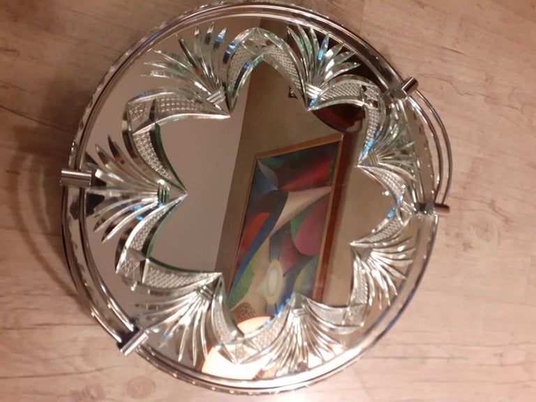 Very nice 20th century French engraved glass tray from the 1950s.  Metal handles. Good condition. Nice engraved details.  Nice quality.