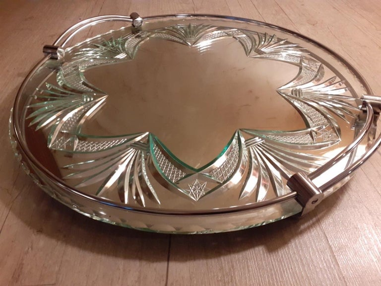 Metal 20th Century French Engraved Glass Tray, 1950s For Sale
