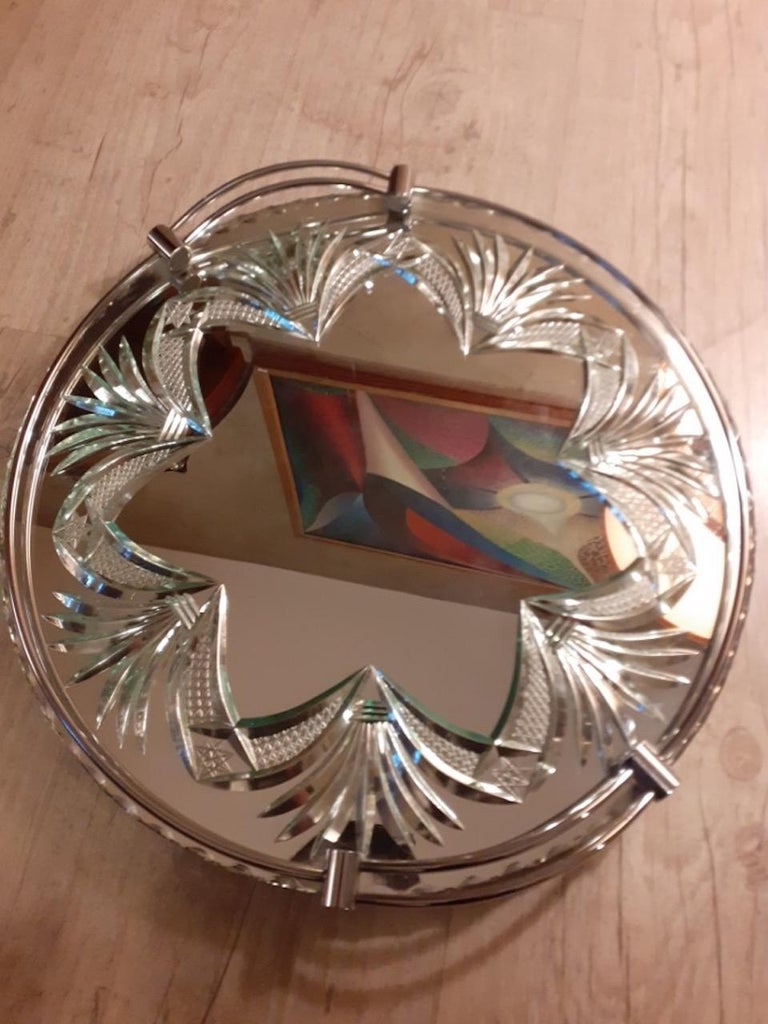 20th Century French Engraved Glass Tray, 1950s For Sale 1