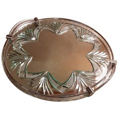 20th Century French Engraved Glass Tray, 1950s