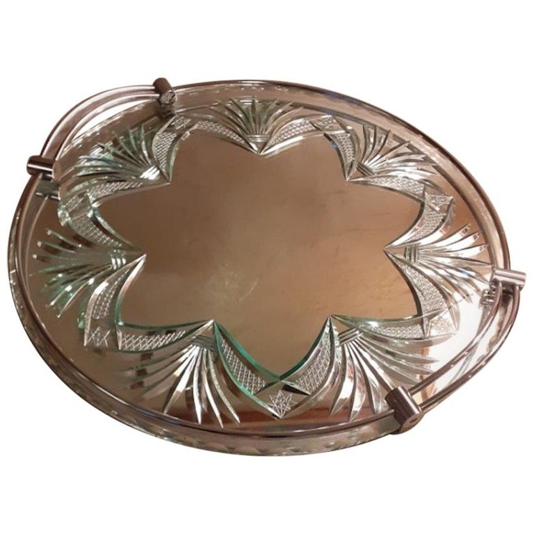 20th Century French Engraved Glass Tray, 1950s For Sale