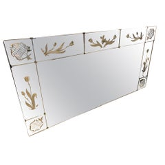 20th Century French Engraved Mirror from the 1950s