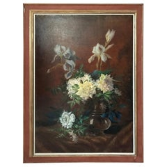 20th Century French Flowers Oil on Canvas, 1920s