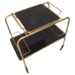 20th Century, French Gilded Brass Rolling Cart, 1960s