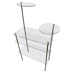 20th Century French Gilted Brass and Glass Shelf, 1950s