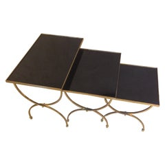 20th Century French Gilted Brass Nesting Table, 1950s