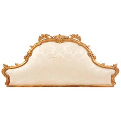 19th Century French Giltwood and Hand-Carved Bedhead