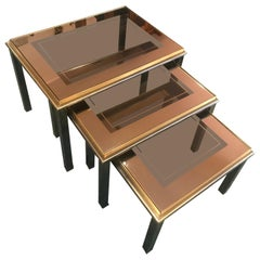 20th Century French Glass and Brass Nesting Tables, 1950s