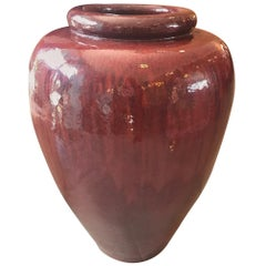 20th Century French Glazed Terracotta Red Garden Jar, 1980s