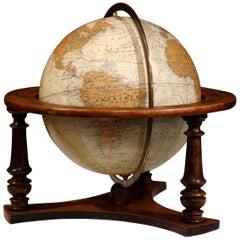 20th Century French Globe on Walnut Base from Girard Barrere et Thomas, Paris