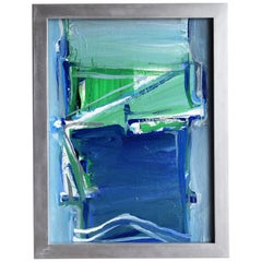 20th Century French Green and Blue Abstract Painting by Daniel Clesse