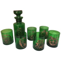 20th Century French Green and Gold Auteuil Whisky Serveware, 1950s