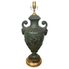20th Century French Green Patinated Urn as Lamp with Custom Base